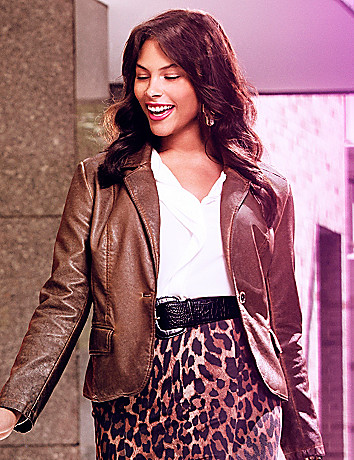 Plus Size Faux Leather Blazer by Lane Bryant