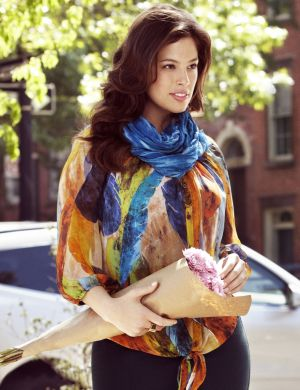 Feather print tie front blouse
