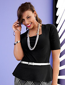 Square neck peplum top by LANE BRYANT