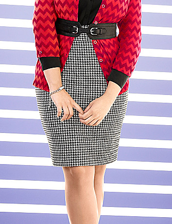 Ponte knit houndstooth skirt