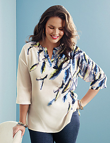 Feather print tunic by Lane Bryant