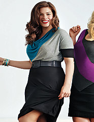 Elbow sleeve colorblock dress by Lane Bryant