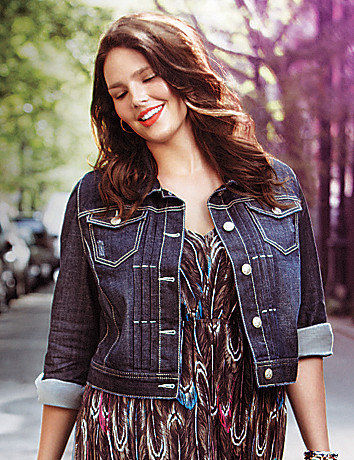 Medium sandblast denim jacket by Lane Bryant