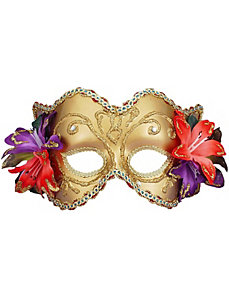 Gold Venetian Half Mask with Flowers by Forum Novelties Inc