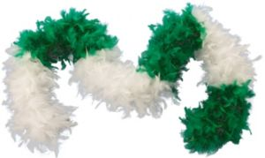 Green & White Feather Boa