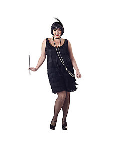 Flapper Fashion Plus (Black)  Adult Costume by California Costume Collection
