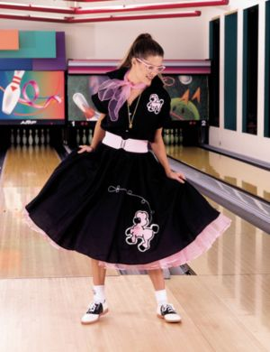 Complete Poodle Skirt Outfit (Black & Pink) Costume