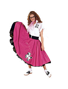 Complete Poodle Skirt Outfit Plus (Pink & White)  Adult Costume by Cruisin USA
