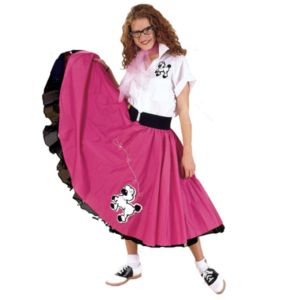 Complete Poodle Skirt Outfit Plus (Pink & White) Adult Costume