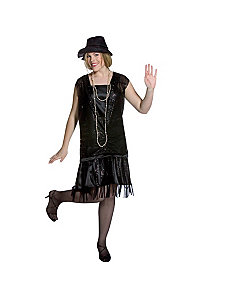 Gatsby Girl (Black) Plus Adult Costume by Rasta Imposta