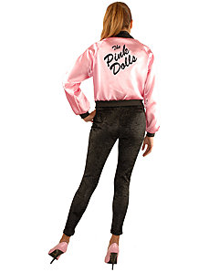 Pink Dolls Satin Jacket Plus Adult Costume by Charades Costumes