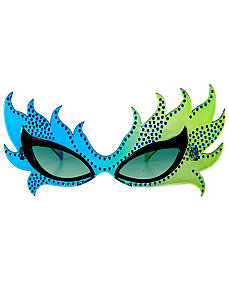 Feather Mask Glasses (Blue/Green) by Elope