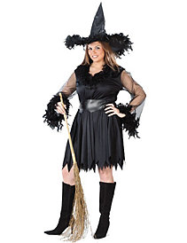 Sexy Feather Witch Plus Adult Costume by Fun World