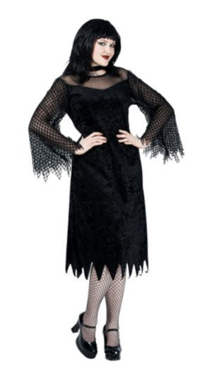 Vamp Robe with Mesh Sleeves Plus Adult Costume