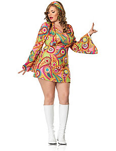 Hippie Chick Dress Plus Adult Costume by Leg Avenue