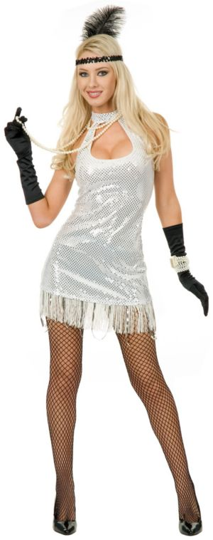 20s Flapper Velvet Sequin Dress (White) Adult Plus Costume