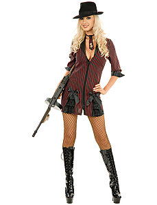 Double Zip Gangster Moll (Black/Red) Adult Plus Costume by Charades Costumes