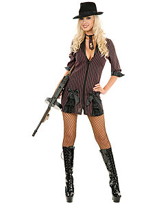 Double Zip Gangster Moll (Black/BuyPink) Adult Plus Costume by Charades Costumes