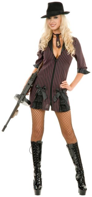 Double Zip Gangster Moll (Black/BuyPink) Adult Plus Costume