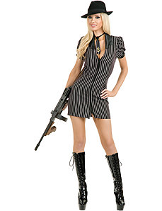 Double Zip Gangster Moll Dress (Black/BuyWhite) Adult Plus Costume by Charades Costumes
