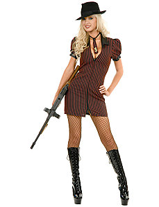 Double Zip Gangster Moll Dress (Black/BuyRed) Adult Plus Costume by Charades Costumes