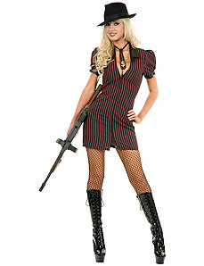 Double Zip Gangster Moll Dress (Black/Pink) Adult Plus Costume by Charades Costumes