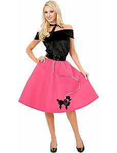 Poodle Skirt, Top & Scarf Adult Plus Costume by Charades Costumes