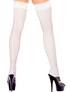 Sheer Thigh Hi With Backseam (White) - Adult Plus by Music Legs