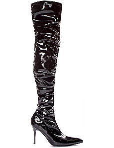 Lala Ruched Thigh High Boots (Black Patent) by ELLIE SHOES