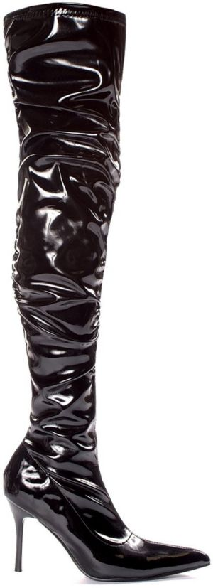 Lala Ruched Thigh High Boots (Black Patent)