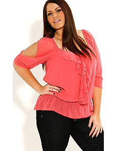 Ruffle Front Shirt by City Chic