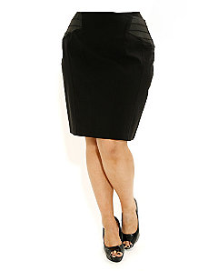 Sateen Pencil Skirt by City Chic