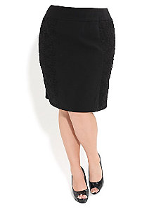 Bengaline Lace Panel Skirt by City Chic