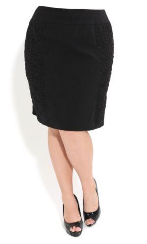Bengaline Lace Panel Skirt