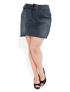 Bow Waist Denim Skirt by City Chic