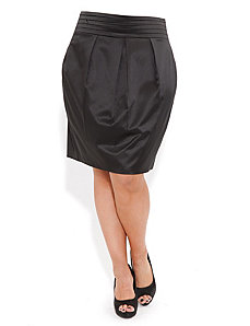 Hi Waist Sateen Skirt by City Chic