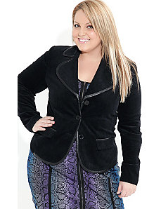 Leatherette Trim Blazer Jacket by City Chic