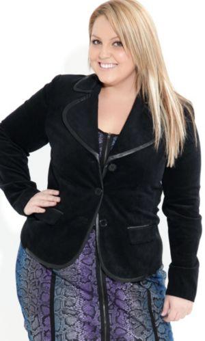Leatherette Trim Blazer Jacket