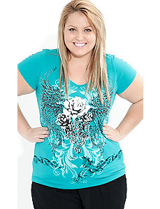 Foil Rose Graffiti Top by City Chic