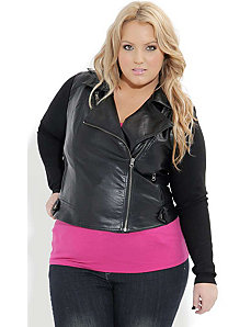 Knit Sleeve Pleather Jacket by City Chic