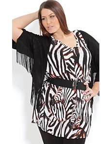 Batwing Fringe Cardigan by City Chic