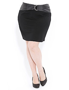 Ponte Skirt W Belt by City Chic