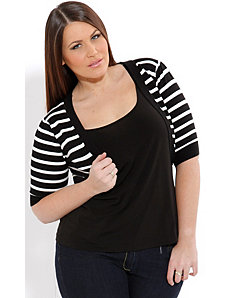 Stripe Monotone Shrug by City Chic