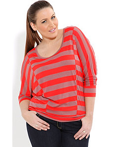 Asymmetrical Stripe Top by City Chic