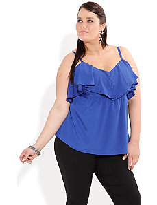 Strappy Ruffle Top by City Chic
