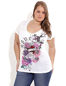Graffiti Rose Tattoo Top by City Chic