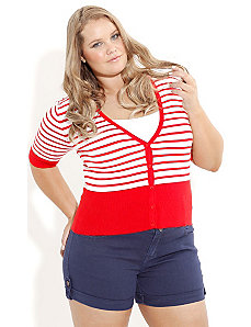 Red Stripe Cardigan by City Chic