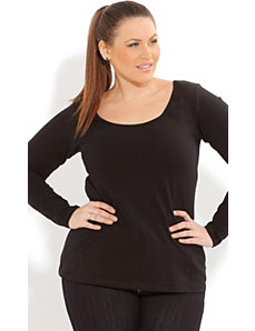Long Sleeve Cc Scoop Top by City Chic