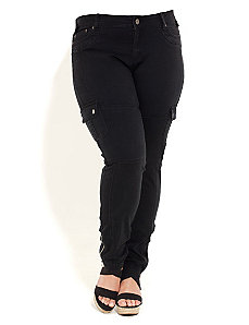 Skinny Leg Cargo Pants by City Chic