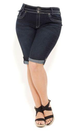 Tab Cuff Denim Shorts